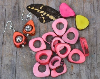Light Pink: Hollow Triangle Tagua Beads, 4 beads, Tagua Nuts, Tagua Slices / Eco-Friendly Beads, Renewable, Boho / Jewelry Making Supplies