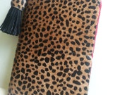 Hair On Wild Cheetah Spotted Leather Fauxdori. Travelers Notebook planner cover Passport, Field Notes, or 1/2 US letter size lined in red