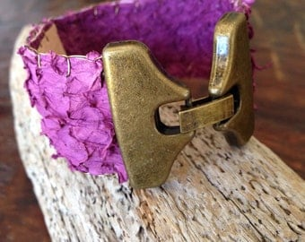 Orchid fish skin leather cuff