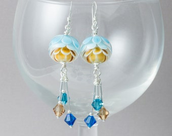 Dahlia Flower Lampwork Earrings