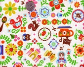 Japanese Cotton Fabric Matryoshka Rustic Nordic Dala White Cream -OOP- 28 x 16