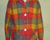 M L Vintage Pendleton 49er Womens Wool Windowpane Colorblock Plaid 50S Rockabilly VLV Jacket Coat