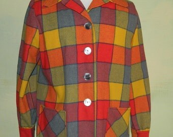 M L Vintage Pendleton 49er Womens Wool Windowpane Colorblock Plaid 50S Rockabilly VLV Jacket Coat
