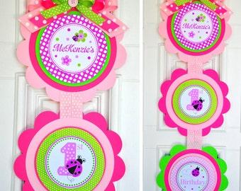Ladybug Vertical Door Sign, XL Ladybug Door Hanger, Ladybug Birthday Party Decorations, Welcome Door Sign, Party Sign