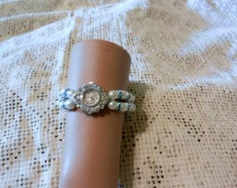 Beaded Stretch Rhinestones Faux Pearls  Bracelet Watch