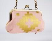 Metal frame handbag with shoulder strap - Canvas tile metallic gold - Party purse / Cotton and Steel Mesa / Alexia Abegg / geometric tribal