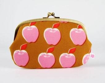 Metal frame purse with two sections - Apples pink - big siamese / Cotton and Steel / Melody Miller Picnic / big apples / ochre red brown