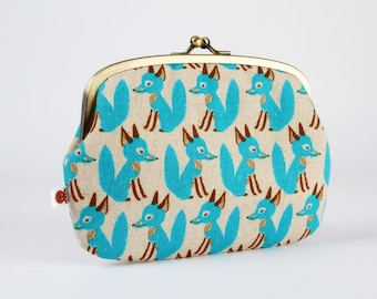 Metal frame purse with two sections - Foxes in turquoise - Maxi siamese / Japanese fabric / Cute fox / blue brown taupe grey / linen blend