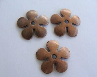 Large Copper Flower Spacer Bead Caps 20mm - Lead Free Antiqued Daisy Spacer Bauble Bubble Bubblegum Necklaces Extra Metal Button
