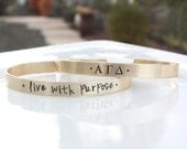 Alpha Gamma Delta Bracelet - Gold Cuff Bracelet Sorority Motto Brass Bracelet, Greek Letters Big Sis Little Sis Sorority Big Little Gift