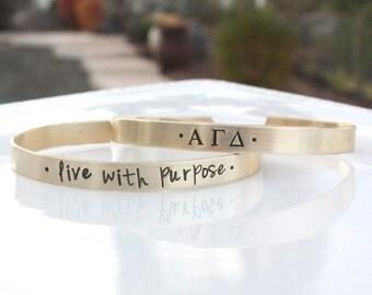Alpha Gamma Delta Bracelet - Sorority Bracelet - Sorority Jewelry - Sorority Cuff Bracelet - Big Little Gift - Sorority Graduation Gift
