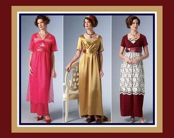 DOWNTON ABBEY GOWNS-Costume Sewing Pattern-Three Styles Draped-Boned Bodice-Bias Skirt-Overskirt-Train-Jacket-Headband-Uncut-Size 6-14