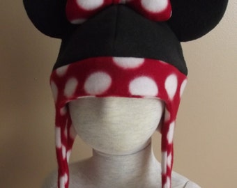 Minnie Mouse inspired fleece hat, size L, for Halloween, dress up or winter wear