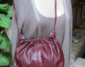 Vintage small wine color leather small bag, maroon leather small shoulder bag, small garnet color leather boho bag, small leather bag