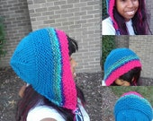 knit wool acrylic hood blue pink