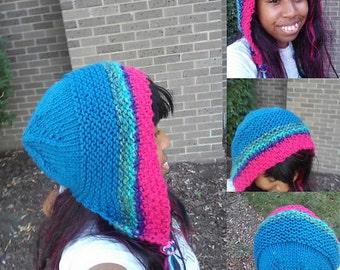 knit wool acrylic hood blue pink