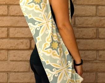 Yoga Mat Bag yellow and gray blue Yoga Mat Tote Bag Sling Sac Sack handmade with pocket PRIMROSE