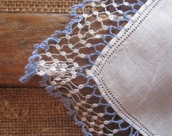 Antique Mignonette Tatted Lace Hankerchief in Blue and White