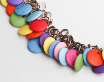 Copper Necklace with Colorful Lentil Beads