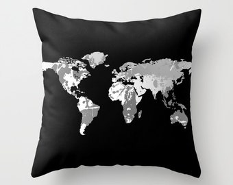 Dark Monochromatic World Map Throw Pillow or Cover, Home Decor, Dorm Decor, Decorative Pillows, 16x16, 18x18, 20x20