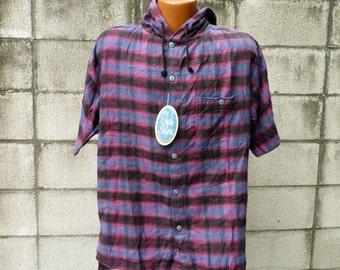 Reserved Shah Safari Shirt Vintage 1990s Deadstock Hooded Drug Rug Pullover Flannel Plaid Hood Men's size S