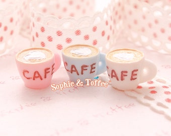 Heart Latte Cafe Cup Miniature - 5pc | Resin Cabochon | Decoden Supplies | Miniature Sweets
