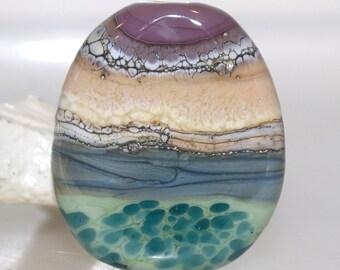 Layered Organic Faux Rock Lampwork Glass Focal Artisan Bead