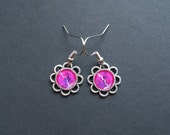 AMBROSIA AFFORDABLES 13 x13 mm Earrings Pink/Magenta Purple Silver