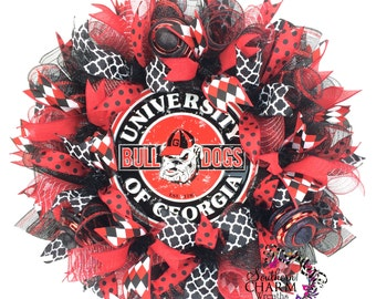 Deco Mesh University of Georgia Wreath -GA Bulldogs -Go Dawgs Decor -University of Georgia Decor -Gameday Decor -Collegiate Wreaths