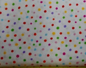 Fabric - Fiesta Multi Colored Dots on White From Fiesta by Dreaming Bear Designs for Camelot Cottons - Yardage
