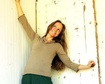 Organic Simple 3/4 Sleeve Cowl Neck - Made to Order - Choose Your Color - Eco Fashion - Boho Chic