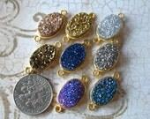 Shop Sale .. 1 2 5 pcs, Druzy Connector Druzy Link Druzy Pendant Druzy Charm, 20.5x10.5 mm Oval, 24k Gold Vermeil, gcl.d5 ap31.8 solo gc 11