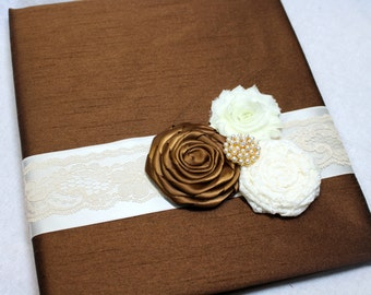 GUEST Book, Photo Spot, Wedding Guest Book, Advice Book, Chocolate Brown Wedding, Brown Guest Book, Ivory lace, Pearls, Custom Colors