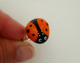 Ladybug ring-Ladybird Beetle-gifts under 30-for her-painted rocks-adjustable-unique ooak-summer gift ideas-pebble stone botanic jewelry