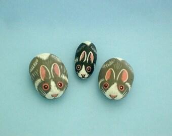 Miniature animal fairy gardens-painted rocks-DIY terrarium kit-tiniest bunny rabbit-summer gift idea-naturalist gardener-desktop dish garden