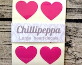 24 large Hot Pink heart stickers, Pink heart decals, Pink heart envelope seals, for packaging, gift wrapping or wedding invitations