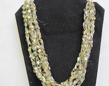 Fiber  Necklace in  silky  golden metallic ladder ribbon yarn