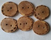 Rustic Handmade Wood Buttons, Ash, 1 5/8 Inches, Set of Six