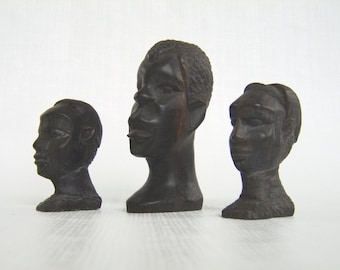 Vintage African Art, Hand Carved, African Busts, Ebony Wood, Black Figurines, Set of 3, Tribal Art, Collectible African Art