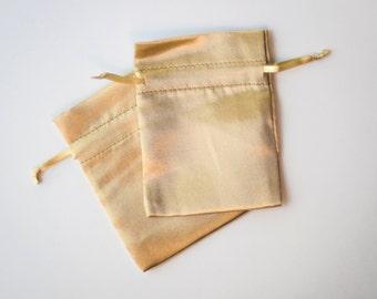 100 Gold Satin Bags, 3x4 inch, Wedding Satin Drawstring Favor Bags