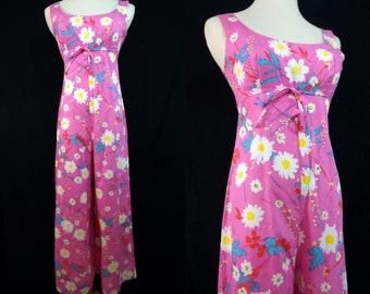 1960s Pink Floral Jumpsuit Sleeveless Daisy Flower Power Small Alexa Wide Leg Palazzo Bell Bottom