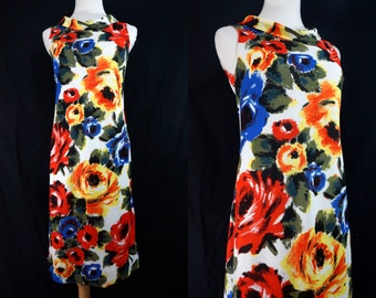 1960s Floral Rainbow Shift Dress Cowl Neck Sleeveless Watercolor Bold Print Small Medium Glazier