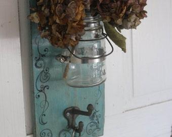 Rustic French Farmhouse Key holder- Repurposed Glass Jar- Wood Wall Rack- Wall Vase- Cottage Chic- Whimsical Aqua Bird Vase