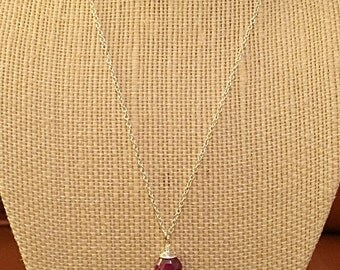 Faceted Ruby Teardrop Pendant Necklace on Sterling Silver