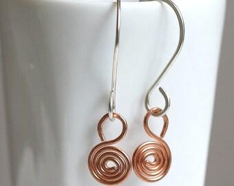 Spiral Earrings, Sterling Silver & Copper  Earrings, Mixed Metal Earrings, Dangle Earrings, 18 Gauge Earrings