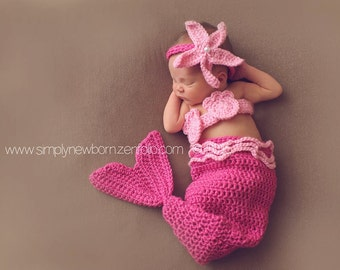 Pink Newborn Mermaid Tail Costume, 0 to 3 month Pink Mermaid Baby Photo Prop