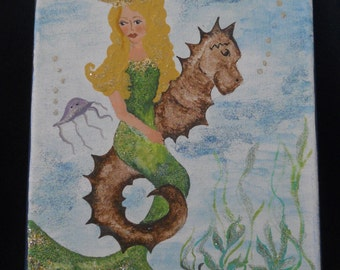 Queen of the Sea, Mermaid Painting, Mermaid riding a Seahorse