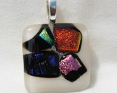 Dichroic Fused Glass Pendant-Beautiful White, Gold, Pink and Blue Combo #0165