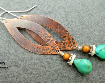 Copper Tribal Turquoise Hammered and Textured Earrings, Long Teardrop Shaped Boho Style Dangle Earrings