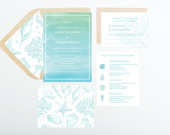 Beach Glass Wedding Invitation Collection, Blue and Green Watercolor, Wedding Announcement, Save The Date, Bridal Shower